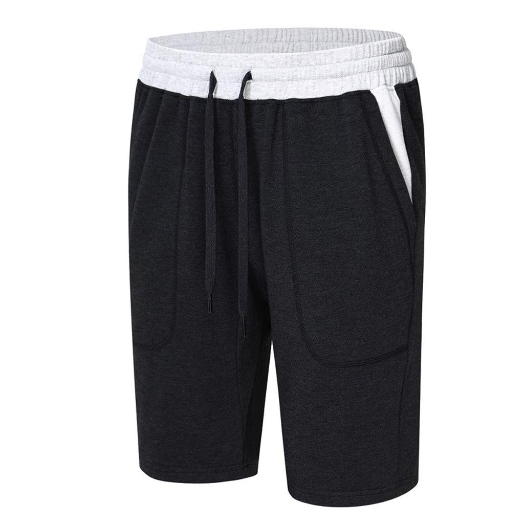 GREFER Men's Short Pants Casual Sports Elasticated Waist Shorts Black by GREFER (Image #2)