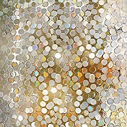 "Rabbitgoo No Glue Privacy Window Film Decorative Window Film Static Cling Window Film Circles Pattern Glass Film for Home Kitchen Office Bedroom Living Room 35.4"" x 78.7"""