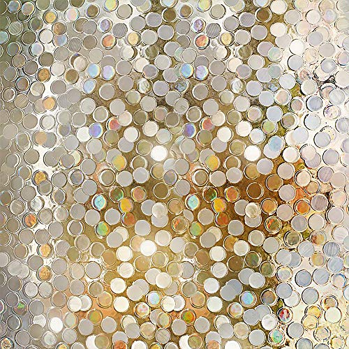 "RABBITGOO No Glue Privacy Window Film Decorative Window Film Static Cling Window Film Circles Pattern Glass Film for Home Kitchen Office Bedroom Living Room 17.5"" x (Etched Scalloped Glass)"