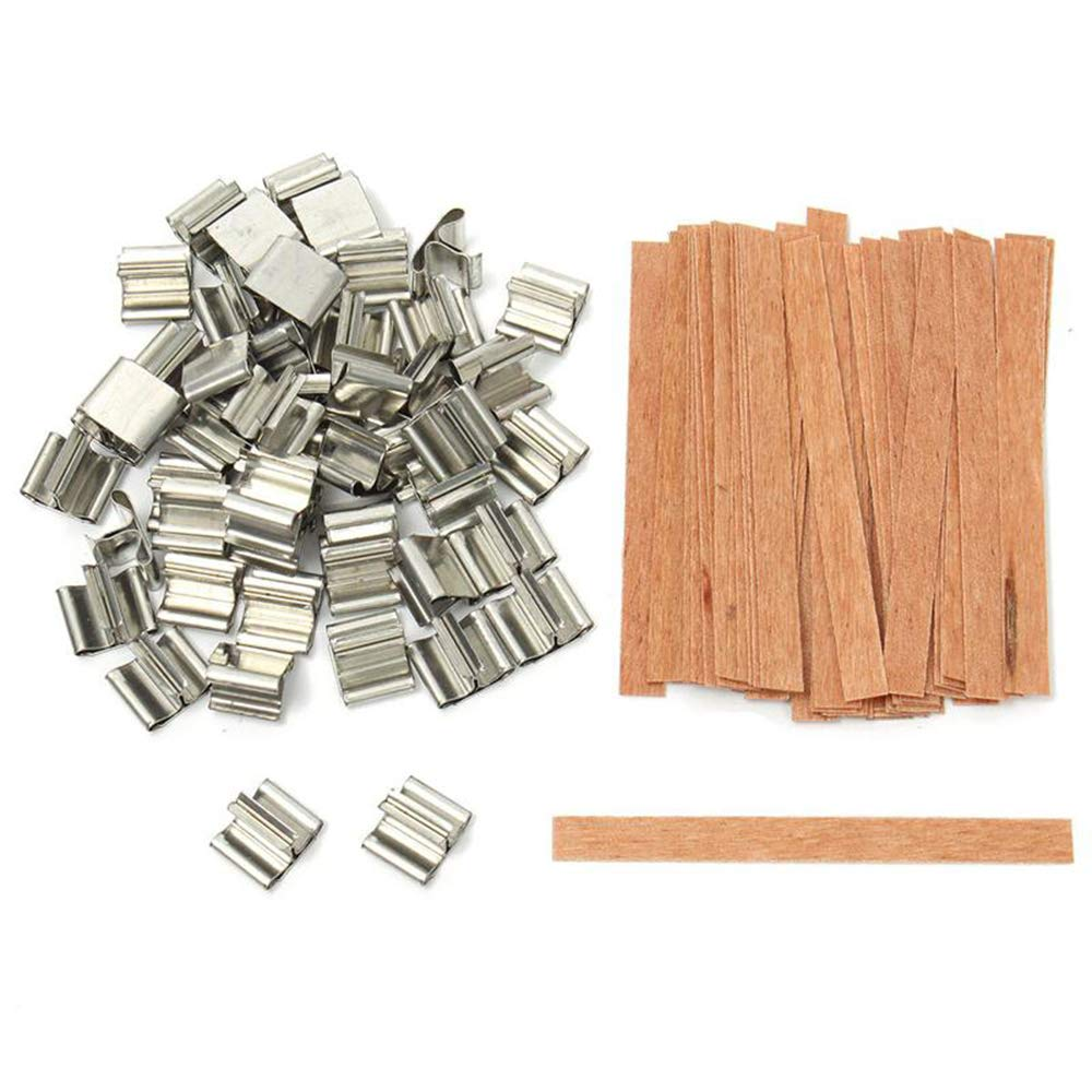 New Handmade Core Parffin Wax Supply Sustainer Tab Wooden 12.5x150mm flierhoo Candle Wick Candles Making