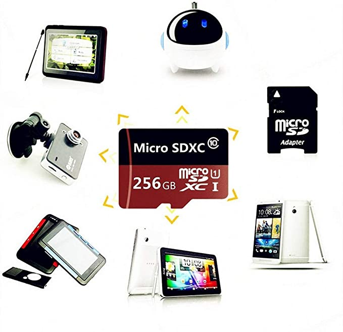 256GB Micro SD SDXC Memory Card High Speed Class 10 256gb with Micro SD Adapter (256gb)