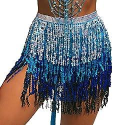 Belly Dance Hip Scarf In Silver, Dark Blue & Light Blue