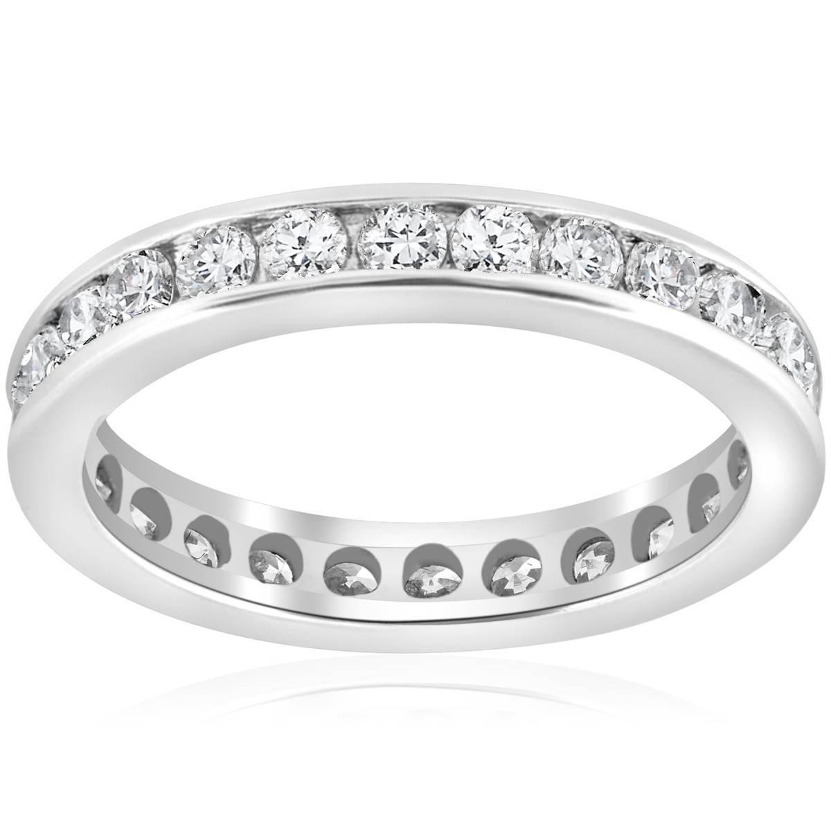 1 1/2ct Channel Set Diamond Eternity Ring 14K White Gold - Size 6.5