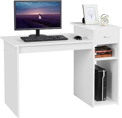 Yaheetech Escritorio Blanco 112 x 70 x 50 cm con Estanterías Cajón Mesa de Estudio para Oficina Despacho Mesa para Ordenador