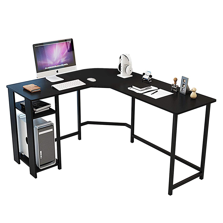 Amazon com dl furniture modern l shaped desk home office workstation corner desk computer writing desk table natural wood with storage shelves