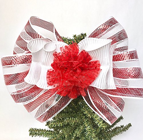 Christmas Bow Wreath Hanger - Wreath Bow, Red and White Mesh Handmade Large Gift Bow, Office Decorating, Wreath Bows, Holiday Bow, Home Decor, Christmas Bows, Swag Bow, Door Decor - Handmade Bow