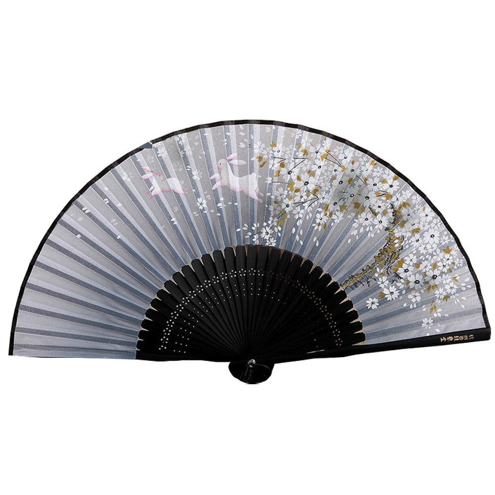 Schöne japanische Design-Hand Folding Fan Kirschblüten & Kaninchen Grau