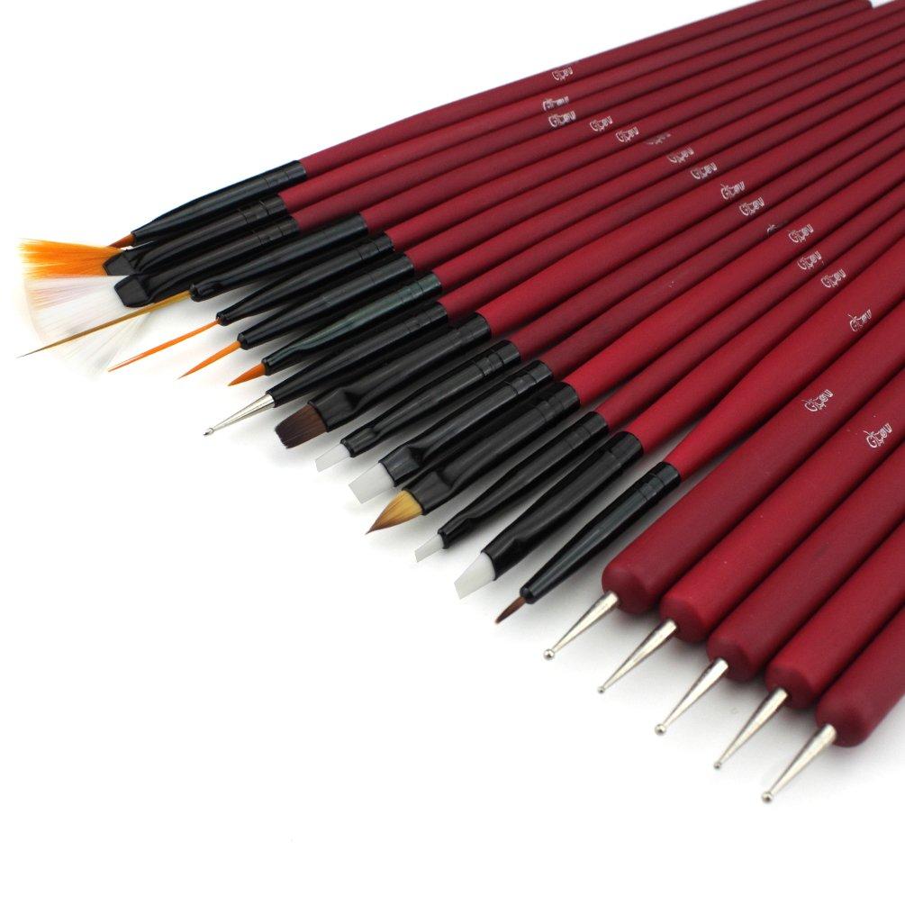 Glow 20 Piece Nail Art Brushes And Nail Dotting Tools Set Grey