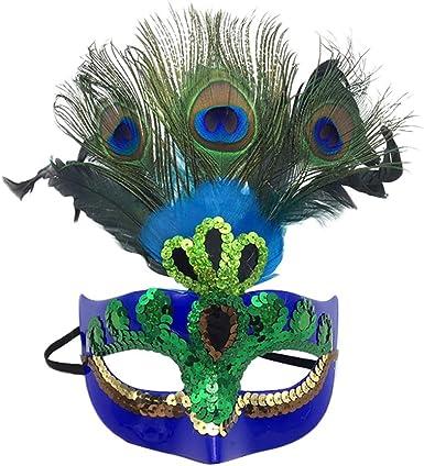 Xinwcanga Máscara con Plumas del Pavo Real para Halloween ...