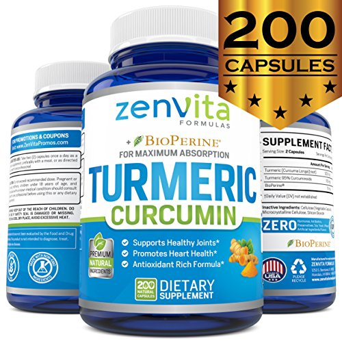 Turmeric Curcumin 200 Capsules w/Bioperine & 95% Curcuminoids, 1300 mg, Non-GMO & Gluten Free, 100% Natural Premium Extract, Powerful Joint Support, Inflammation & Pain Relief Supplement