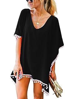 dedda3deb7 Amazon.com: Taydey Women's Stylish Chiffon Tassel Beachwear Bikini ...