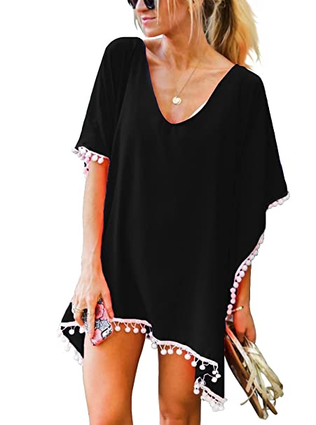 06719190a40 Adreamly Women's Pom Pom Trim Kaftan Chiffon Swimwear Bathing Suit Beach  Cover Up Free Size Black
