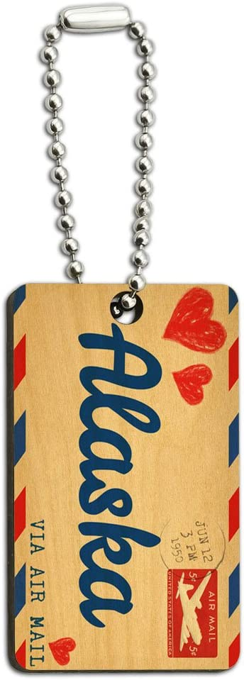Graphics and More Air Mail Postcard Love for Alaska Wood Wooden Rectangle Key Chain