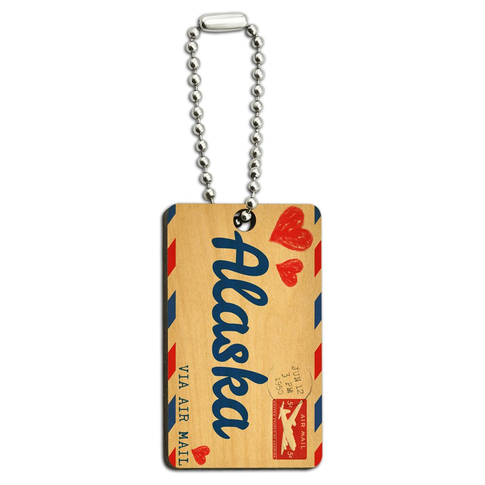 Air Mail Postcard Love for Alaska Wood Wooden Rectangle Key Chain