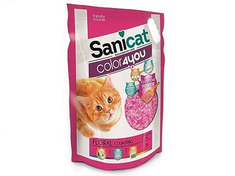 Sanicat 1571260031 - arena para gatos color4you rosa 5l