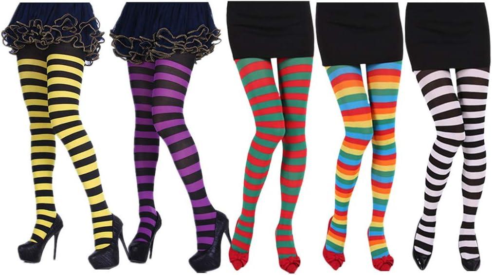 ZOOMY Women Girls Contrast Color Stripes Collant Calze opache Collant con Piedini a Figura Intera per Natale Costume Cosplay di Halloween Arcobaleno