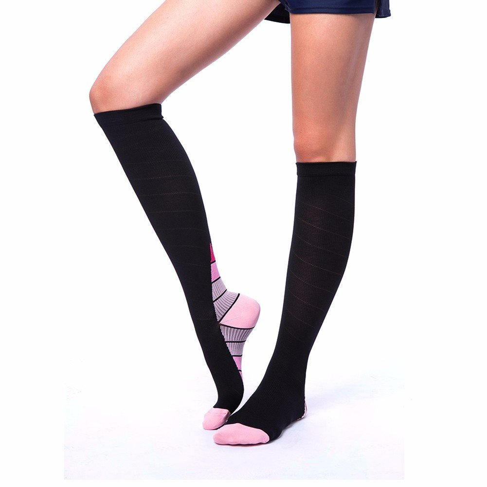 COLO Compression Socks Unisex Foot Compression Sleeves for Ankle&Calf Support, Increase Blood Circulation, Relieve Arch Pain, Reduce Foot Swelling (Pair) Pink L/XL