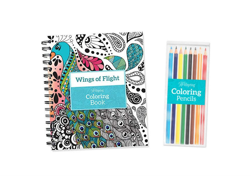Wings of Flight Adult Spiralbound Coloring Book with 8 Colored Pencils Wellspring