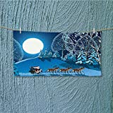 SCOCICI1588 Soft Luxury Towel Santa in Sleigh a Holy Night with Full Snowy Winter Theme Night Absorbent Ideal for everyday use L27.5 x W11.8 INCH