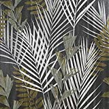 76 sq.ft Made in Italy Portofino wallcoverings Textured Rolls Modern Embossed Vinyl Wallpaper Silver Black Bronze Metallic Green Olive Floral Tropical Palm Leaves Pattern Trees Textures 3D Textured