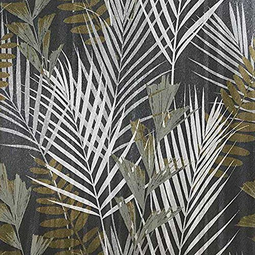 Oriental Floral Wallpaper (76 sq.ft Made in Italy Portofino wallcoverings textured rolls modern embossed Vinyl Wallpaper silver black bronze metallic green olive floral tropical palm leaves pattern trees textures 3D textured)