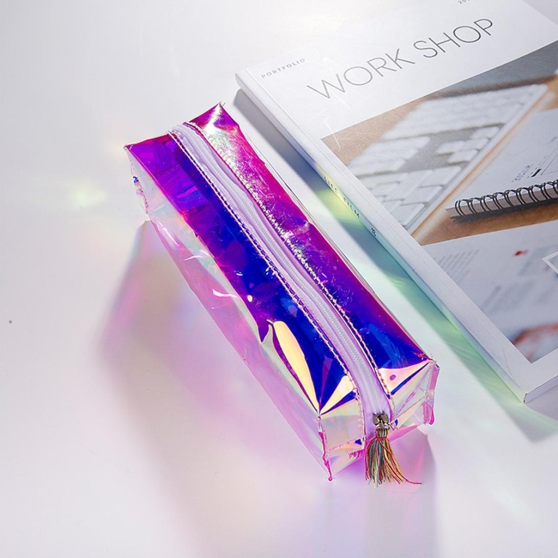 LtrottedJ Colorful Transparent Pencil Case Cosmetic Bag Makeup Pouch Tassel Pencils Box (Multicolor)