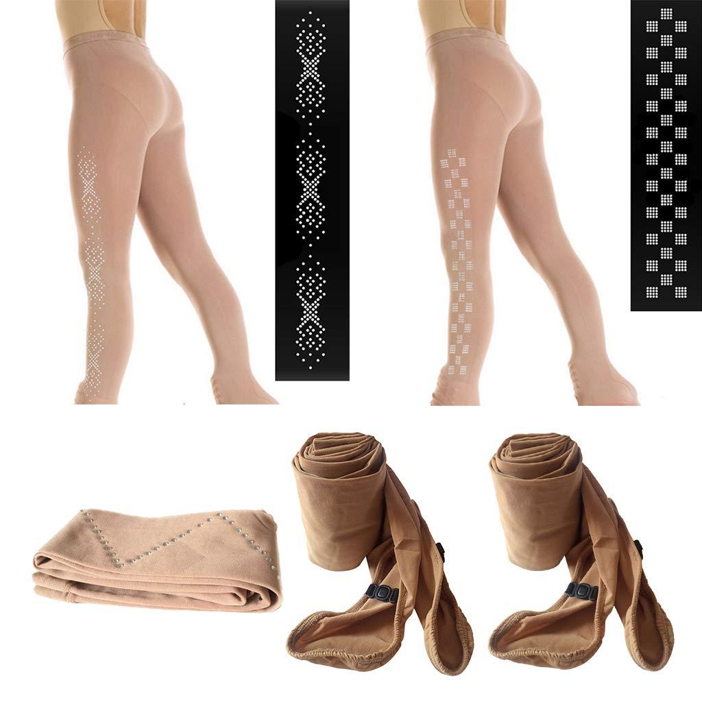 Thermal Choice of Sizes SaniMomo Performance Ice Skating Leggings Tights Skate Pants Compression Stockings Socks /& Crystal Rhinestones