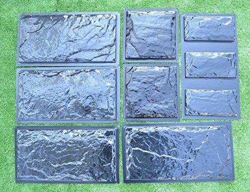 SET9 Plastic Molds for Concrete Plaster Wall Stone Cement Tiles CONCRETE MOULD #W18