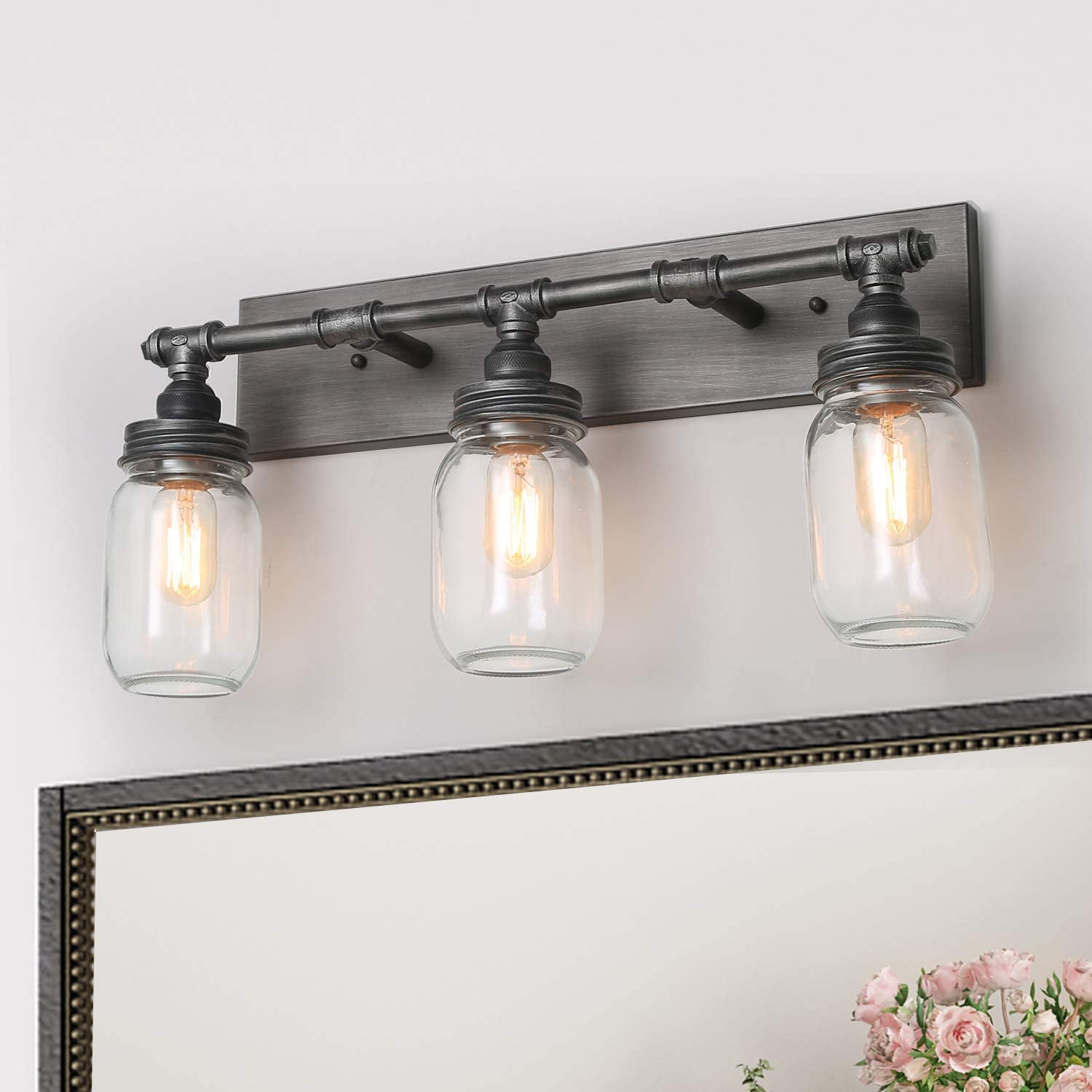 Lnc 24 Large Bathroom Light Fixtures Industrial 3 Mason Jar Vanity Light With Antique Silver Brushed Finish Amazon Com