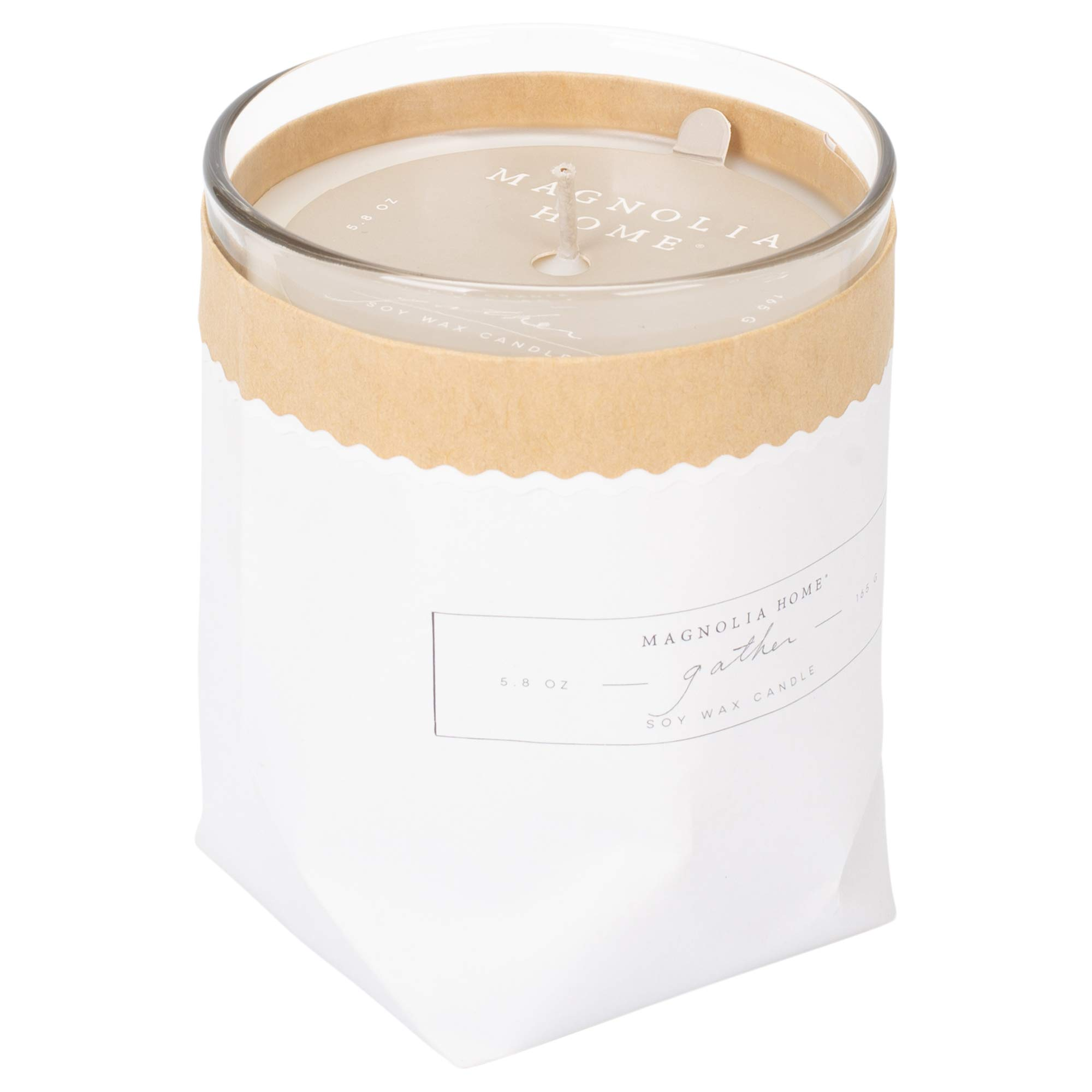 Gather Scented 5.8 ounce Soy Wax Kraft-Textured Candle by Joanna Gaines - Illume
