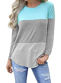 e52676470bd Hount Womens Back Lace Color Block Tunic Tops Long Sleeve T-Shirts Blouses  with Striped