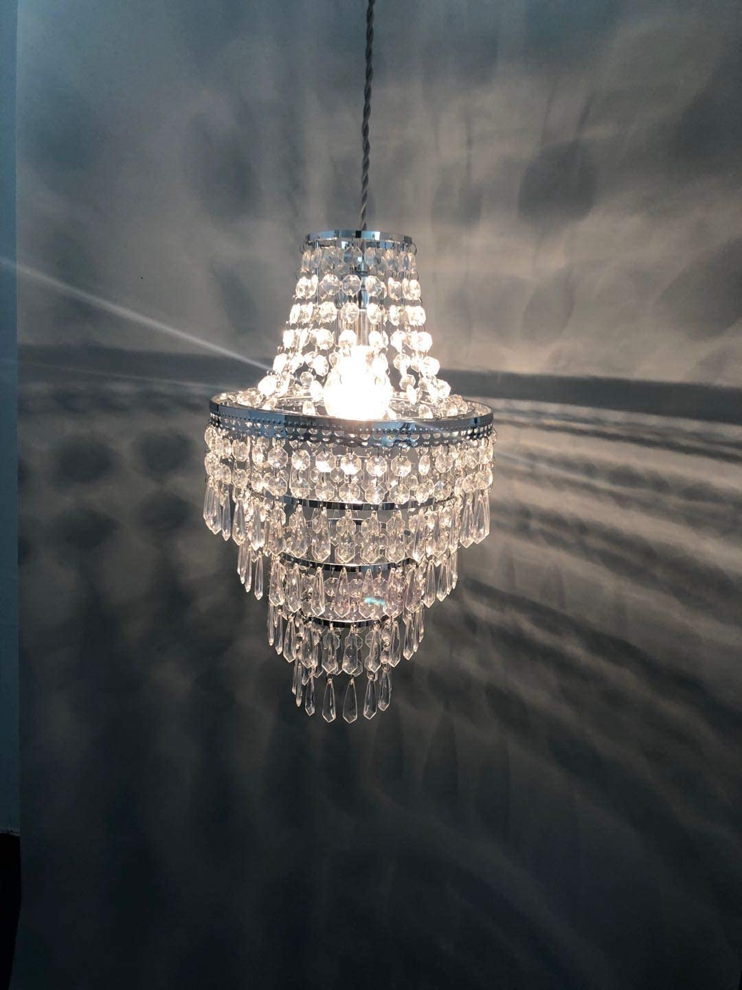 Lamp Shade with Polish Chrome Frame and Clear Beads-LH03-Clear JING Modern 4 Tier Chrome Beads Lamp Shade Ceiling Chandelier Lampshade with Acrylic Jewel Droplets