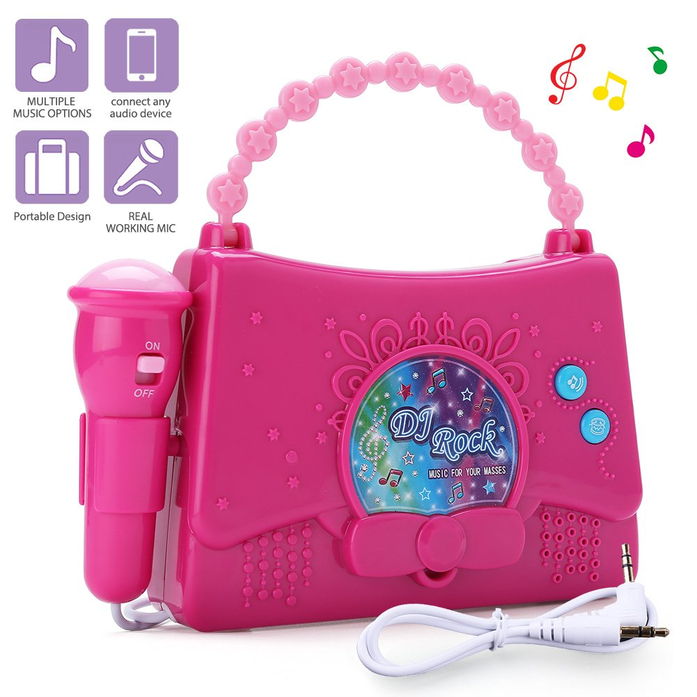 LotFancy Karaoke Machine for Kids - Portable Mini Singing Music Player for Girls - Sing Along Boombox with Microphone, AUX Cable and Battery Included, Connect to MP3 Player, IPod, IPhone