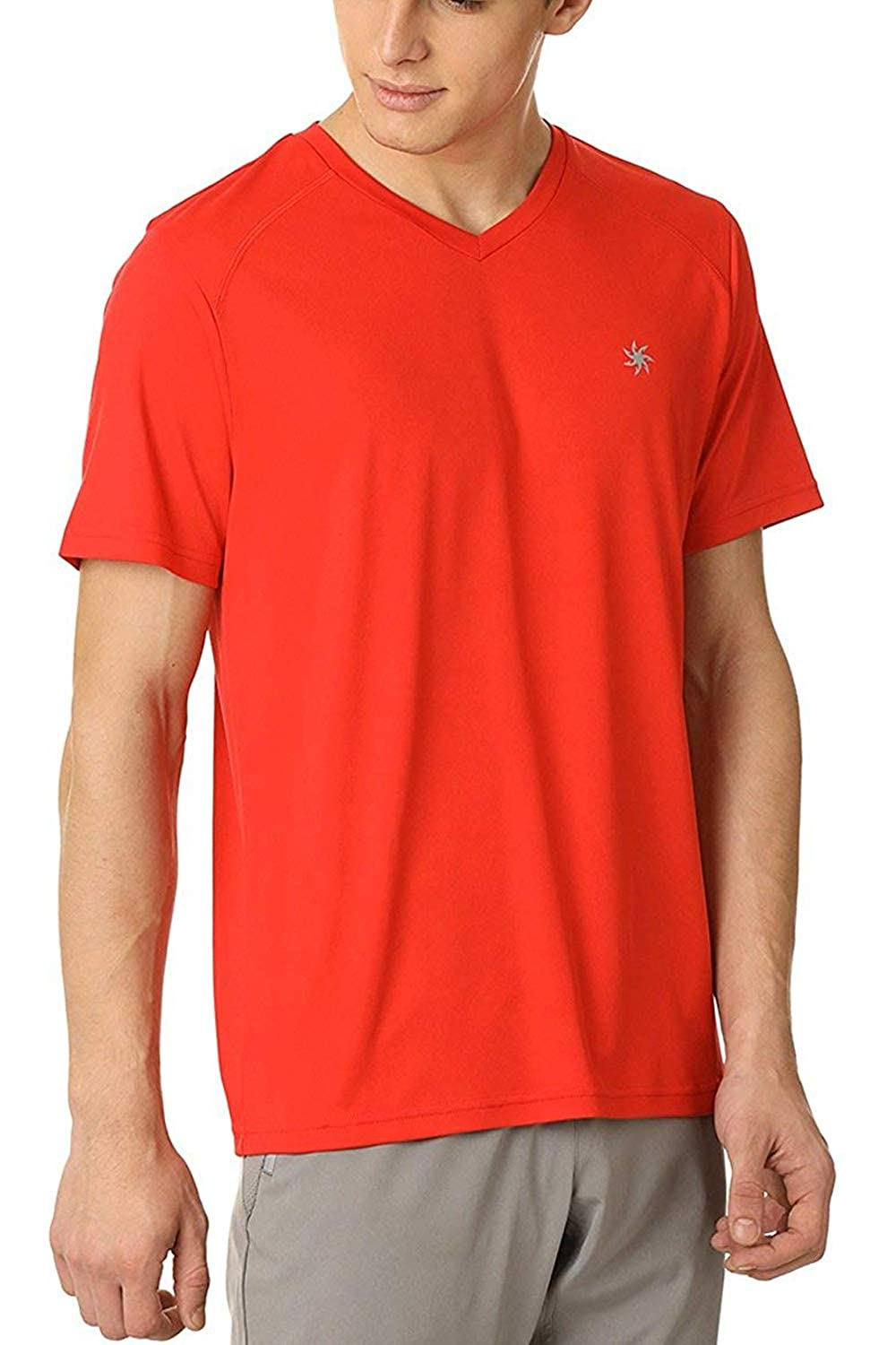 d1ec6e25 Zeven Men's Tshirts | Plain V-Neck Polyester Half Sleeves T Shirt for  Casual Sports Gym Excercise Workout Work (Red): Amazon.in: Clothing &  Accessories