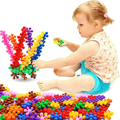 Building Blocks, FIOLOM Interlocking Solid Plastic Plum Blossom Building Toy Sets Interactive Puzzle Educational Learning Stem Building Construction Toys Gifts for Kids Boys Girls and Preschool 90 PCS -