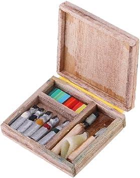 Amazon.es: Baoblaze 1:12 Miniaturas Caja de Herramienta de Dibujo de Acuarela para Casa de Muñeca - Juguete para Niños: Juguetes y juegos
