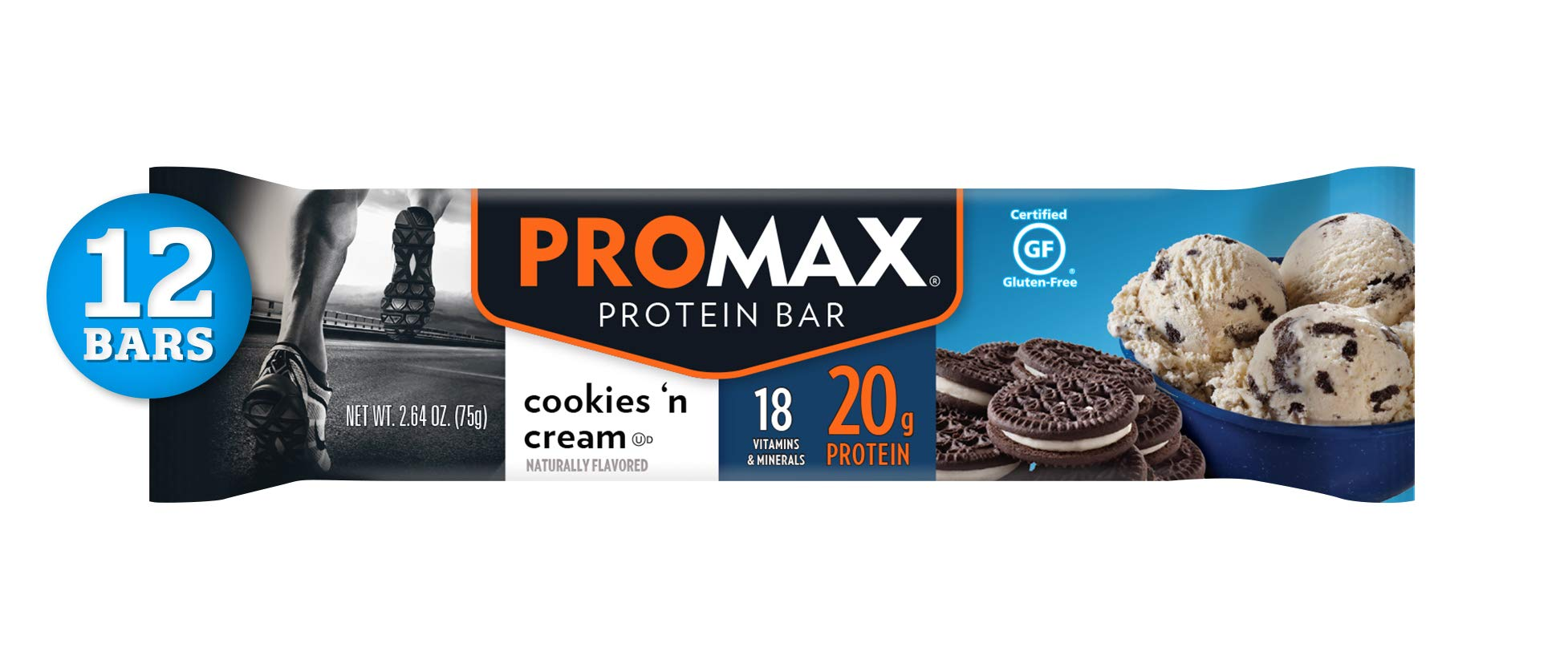 Promax Cookies 'n Cream, 20g High Protein, No Artificial Ingredients, Gluten Free, 12 Count by Promax