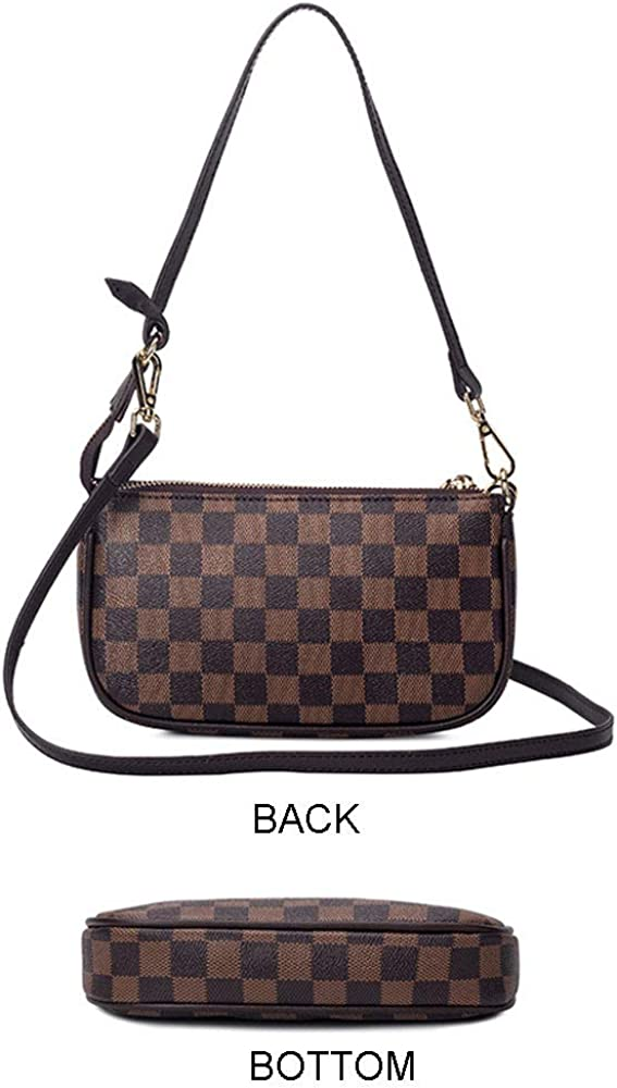 Women Checkered Leather Crossbody Purse Floral Printed Handbag Clutch Shoulder Bag