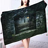 AuraiseHome Premium Extra Bath Towel Ancient Altar Holy Table in Castle Baroque Inspired Alchemy Wizard Soft Cotton Machine Washable L55.1 x W27.5 INCH