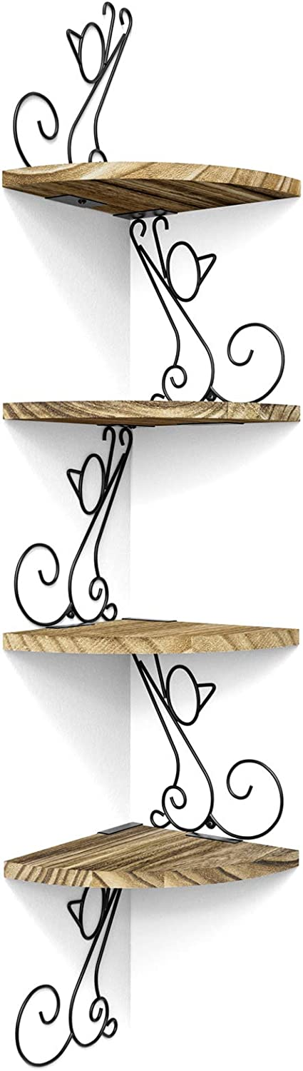 Alsonerbay Wall Mount Corner Shelves 4 Tier Floating Corner Storage Wood Shelves Decorative Rustic Radial Shelf in Cat Shape Carbonized Black: Home & Kitchen