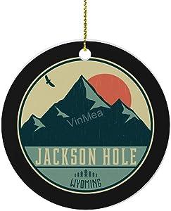 VinMea Xmas Hanging Ornaments Jackson Hole Wyoming Retro Mountain Badge Round Ornament for Christmas Tree