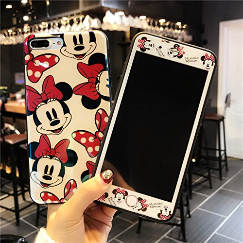 Red Black Minnie Mouse iPhone 8 Plus Case Cartoon Animal iPhone 8 Plus Back Cover Goofy Mickey Minnie Mouse Print iPhone 8+ Skin Protector Case Girls Kids Shockproof Soft TPU+Glass Screen Film