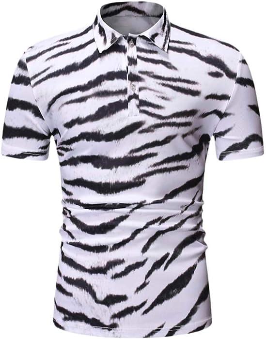 29b6e704 Men's Summer Tops Polo Shirt Leopard Print Short Sleeve Button Slim Fit T  Shirt Golf Casual