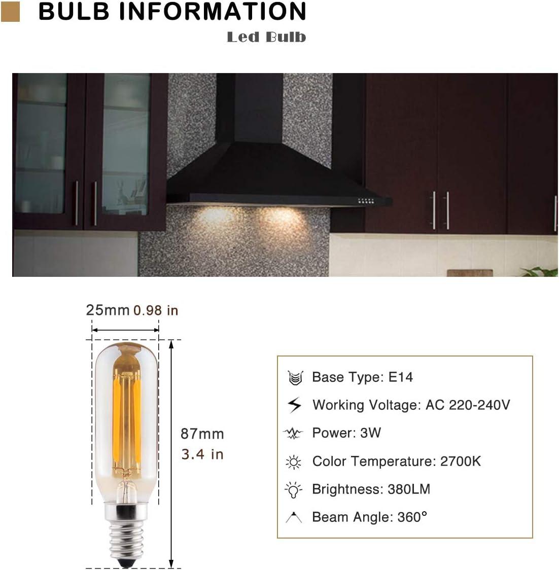 E14 Bombilla Led Luz Calida 2700K 3W, Reemplaza Edison Bulbs 40W, B4U Bombillas Vintage Lámpara Duradera de Ahorro de Energía, Para Cocinar, Lámparas de Mesa, Apliques, 2 Piezas: Amazon.es: Iluminación