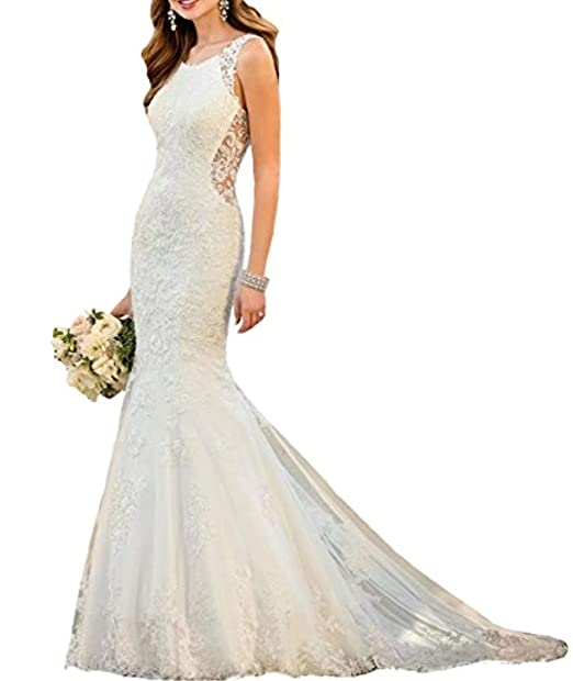 Amazon.com: DD vestido de novia de princesa de encaje sirena ...