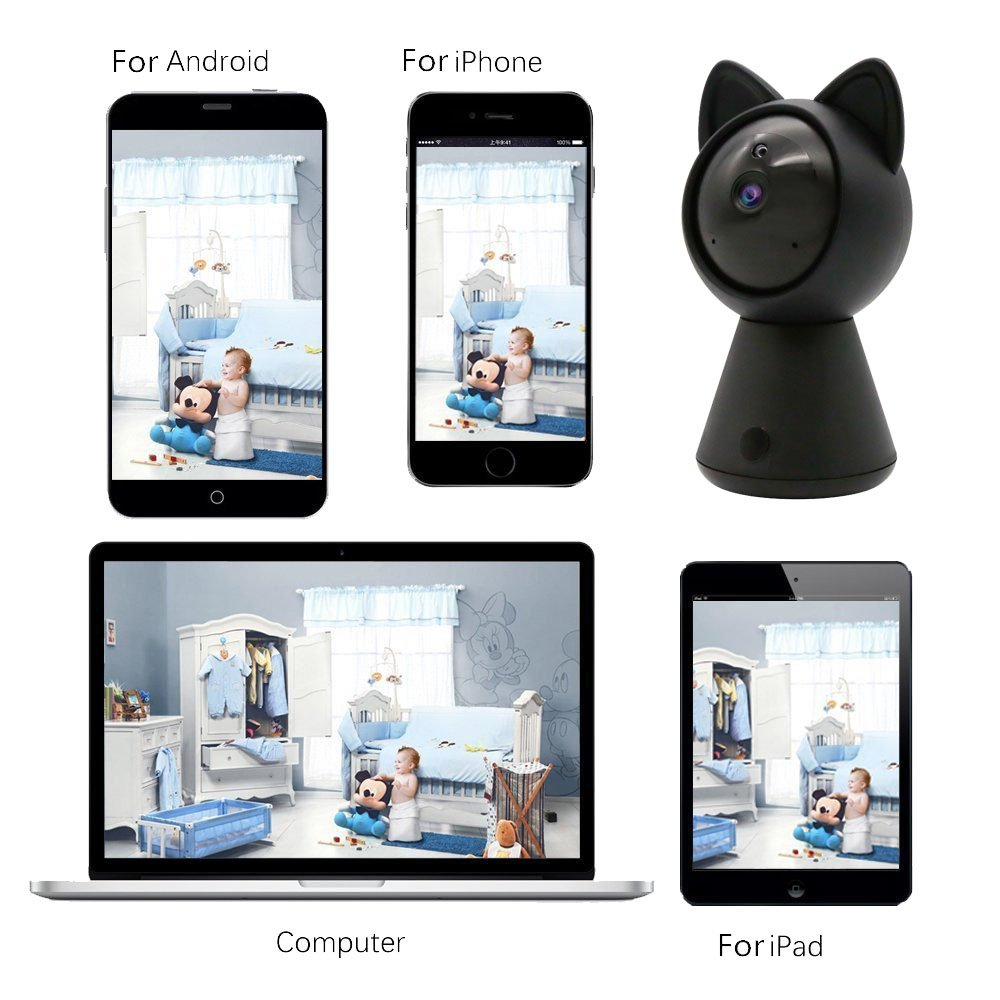 Pet IP Camera WiFi Cam HD 1080P Cute Cat camera Home Security Surveillance Wireless System Dome Camera Nanny Baby Cam Indoor Monitor Pan/Tilt with Night Vision 2-Way Audio Motion Detection alarm B by LUFASA (Image #2)