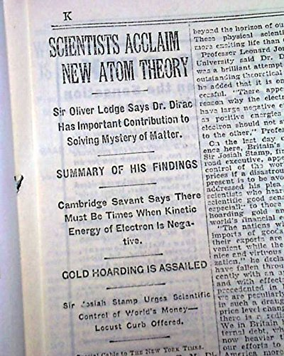 PAUL DIRAC Discovers New Atomic Theory re. Space & Matter 1930 Old NYC Newspaper THE NEW YORK TIMES, September 10, 1930