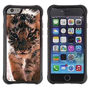 Suave TPU Caso Carcasa de Caucho Funda para Apple Iphone 6 / tiger cub roar cute puppy animal furry / STRONG