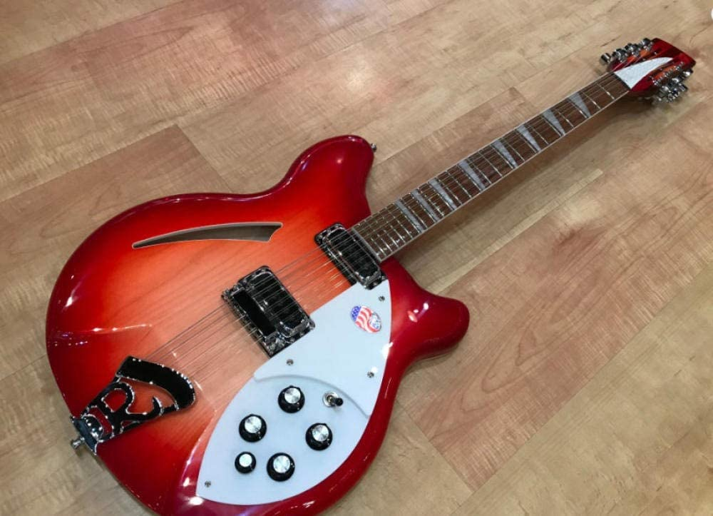 12 Cuerdas De Guitarra Eléctrica Semi Hueco De Conectores De Salida del Cuerpo Barniz Brillante Diapasón Dos SYXMSM ( Color : Guitar , Size : 39 Inches )