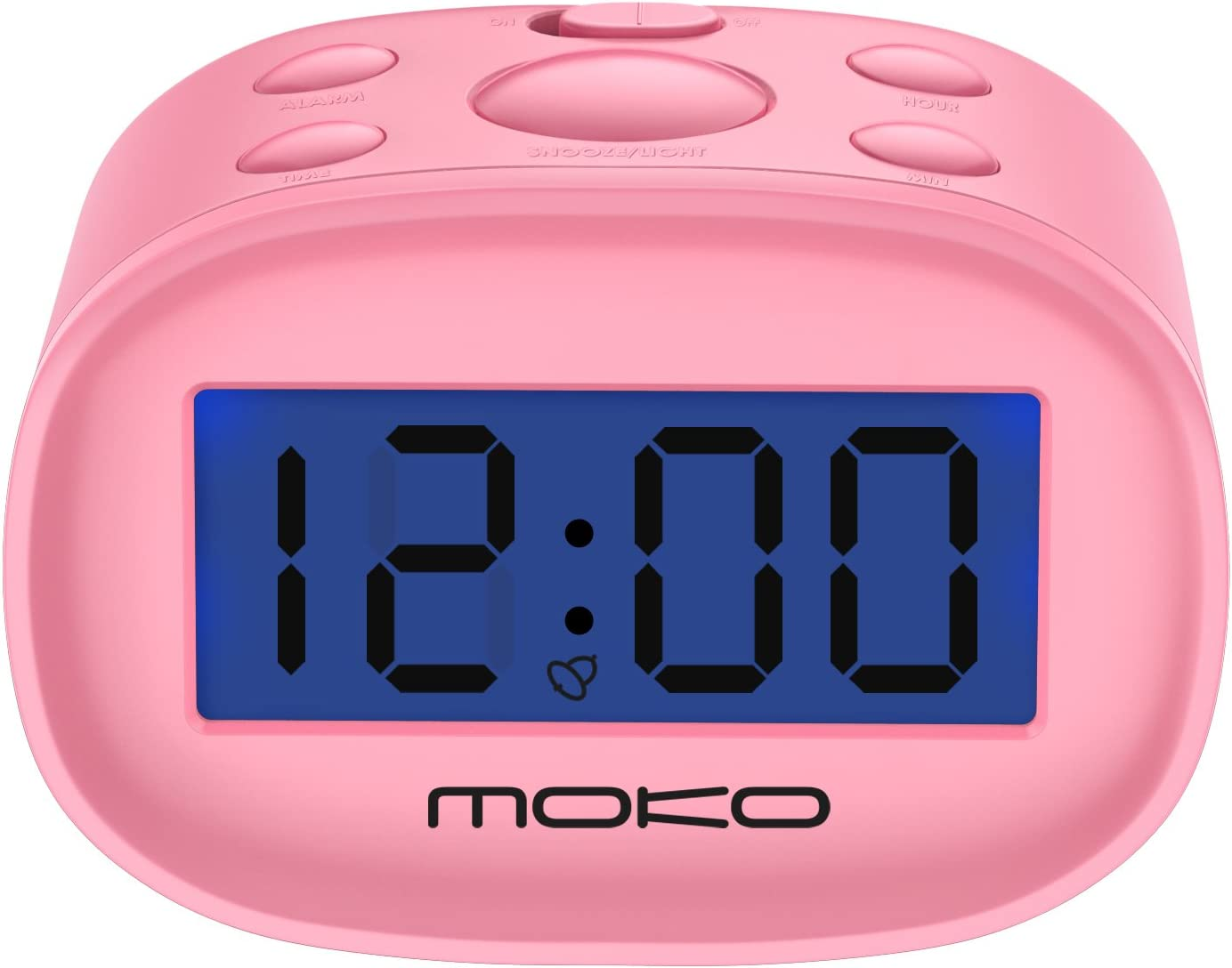 Kids Alarm Clock, MoKo High Accuracy Mini LCD Display Digital Clock Night Light Travel Bedside Alarm Clocks with Snooze Time Backlight Electronic Home Office Table Clock - Pink